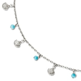 Sterling Silver Turquoise Anklet Adj. - 9 inches