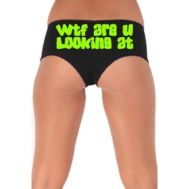 Women's Sexy Hot Booty Boy Shorts WTF Are You Looking At? Gothic Green Bold Style Type Lingerie