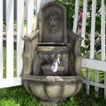 Sunnydaze Regal Lion Head Outdoor Corner Floor Fountain with LED Lights - Thumbnail 1
