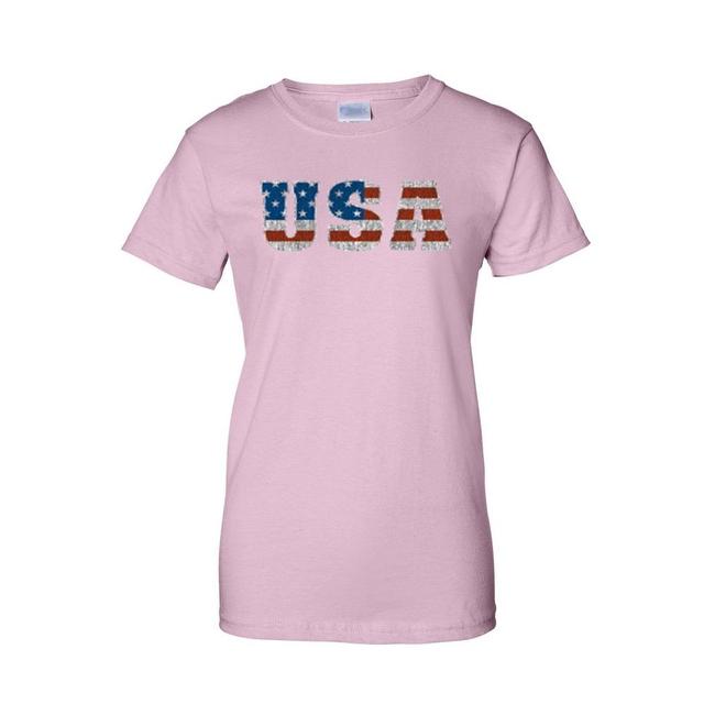 Women's Juniors T-Shirt United States USA Flag American Pride Stars & Stripes Tee
