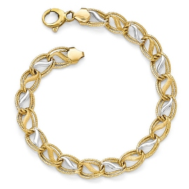 Italian 14k Two-Tone Gold Polished, Brushed & Textured Bracelet - 7.5 inches