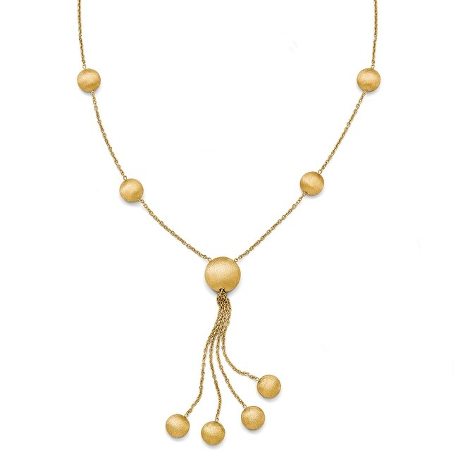 Italian 14k Gold Scratch Finish Beaded Necklace - 17 inches