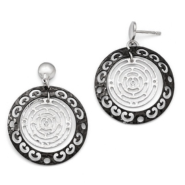 Italian Sterling Silver Ruthenium-plated Polished & Textured Earrings