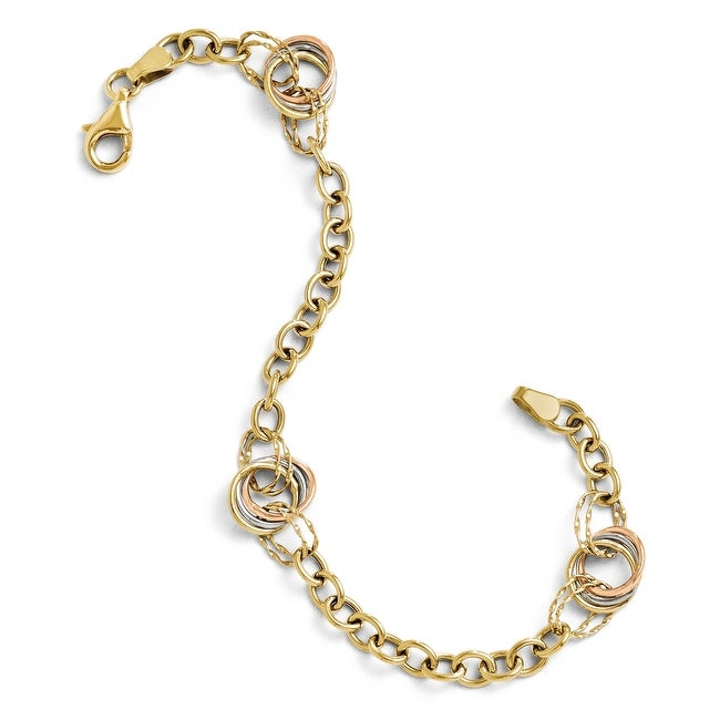 10k Tri-Color Gold Polished and Textured Fancy Link Bracelet - 7.25 inches