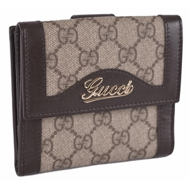 New Gucci Women's 282412 GG Plus Canvas Valentine Small French Wallet