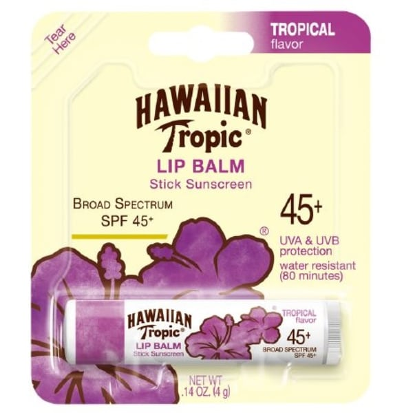 Hawaiian Tropic Lip Balm Stick Sunscreen, SPF 45+, Tropical 0.14 oz