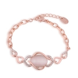 18K Rose Gold Plated Ivory Gem Bracelet with Swarovski Elements