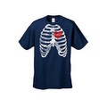 MEN'S FUNNY T-SHIRT Rib Cage With Red Heart Beating SKELETON BODY CHEST BONES - Thumbnail 4