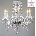 Empress Crystal Chandelier Lighting With Pink Crystal*Stars* H17 x W17 - Thumbnail 0