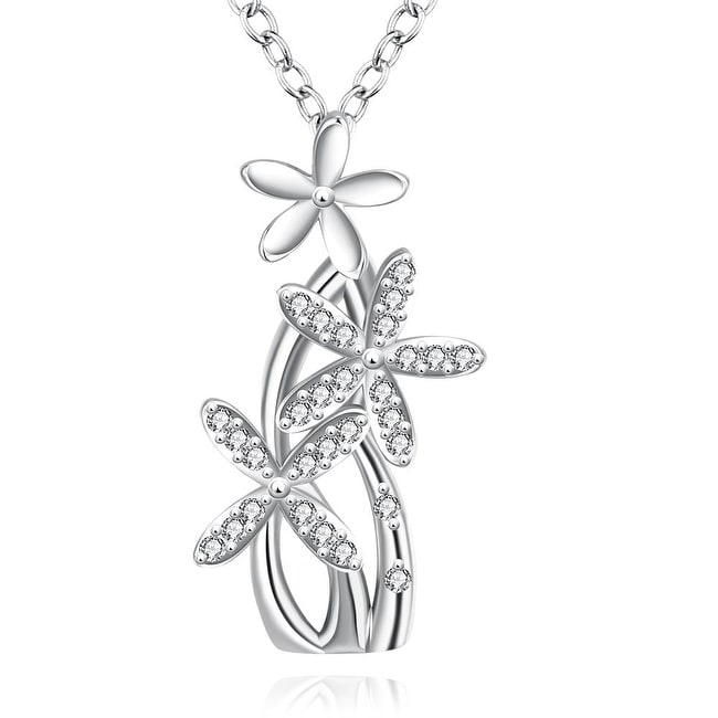 White Gold Plated Grape Vine Bridal Necklace