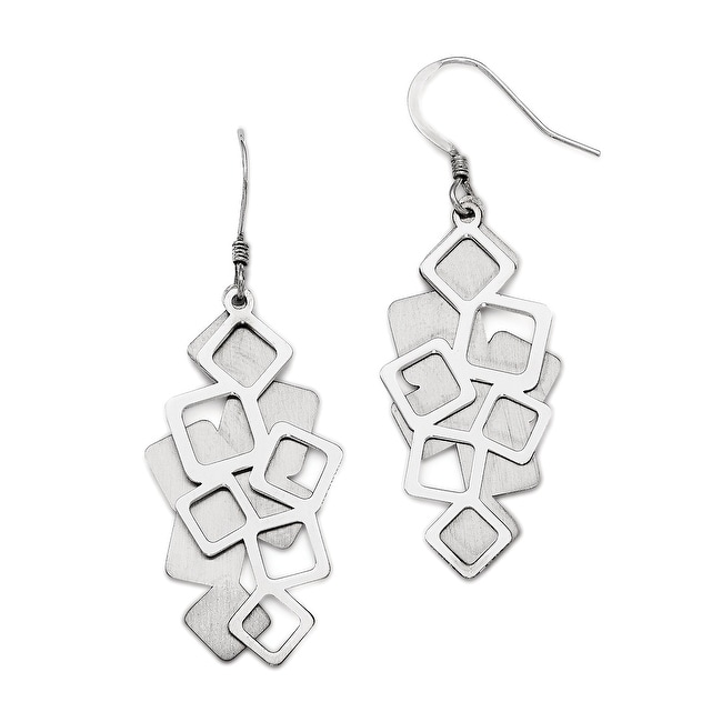 Sterling Silver Polished Brushed Cut-out Dangle Earrings