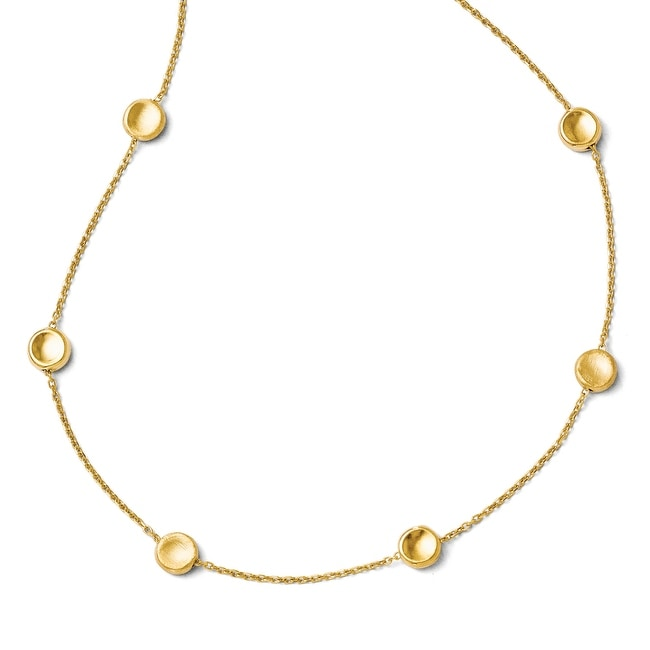 Italian 14k Gold Polished and Satin Beaded Necklace - 18 inches