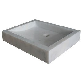 Angled Flow Rectangular Natural Stone Vessel Sink - White Marble