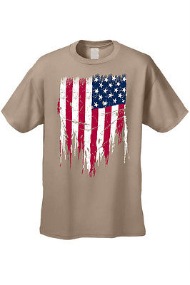 MEN'S AMERICAN FLAG T-SHIRT USA Ripped Distressed Flag STARS & STRIPES S-5XL TEE