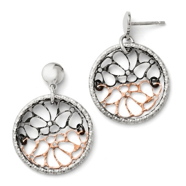 Italian Sterling Silver Ruthenium & Rose Flash Plated Earrings