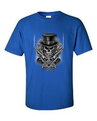 MEN'S BIKER T-SHIRT SKULL WITH TOP HAT CROSSED PISTOLS & ROSES S-XL 2X 3X 4X 5X