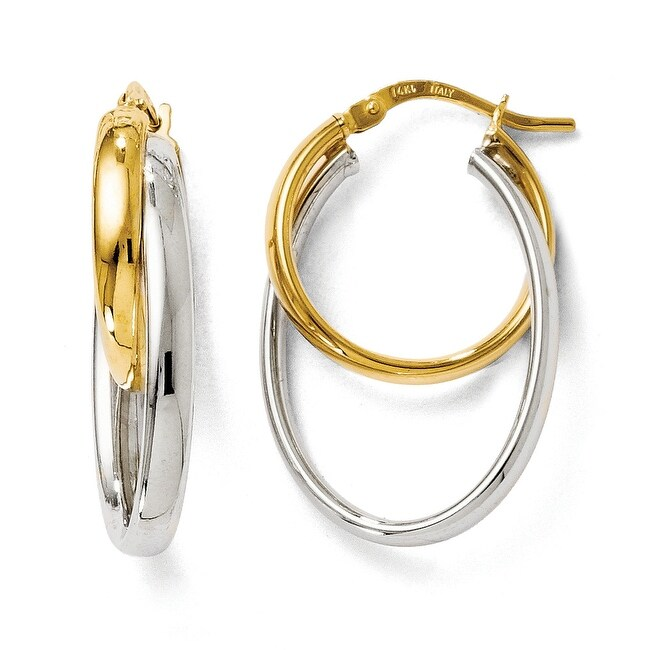 Italian 14k Two-Tone Gold Polished Twisted Hinged Hoop Earrings