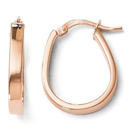 Italian 14k Rose Gold Polished U-Shape Hoop Earrings