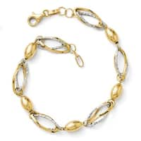 Italian 14k Two-Tone Gold Polished and Diamond Cut Bracelet - 7 inches