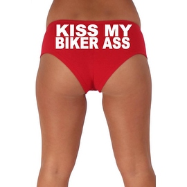 Women's Sexy Hot Booty Boy Shorts Kiss My Biker Ass Block White Bold Style Type Lingerie