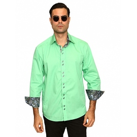 IN-41 Men's Manzini Solid Mint Cotton Shirt with Paisley Trim