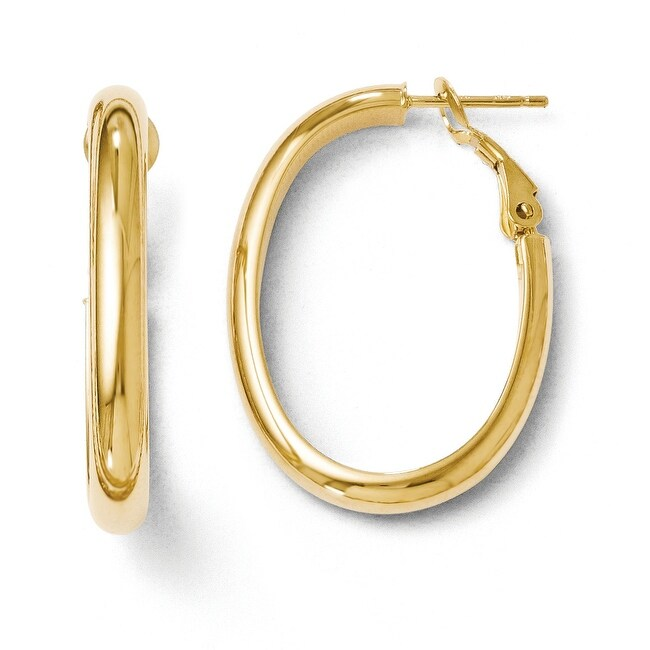Italian 14k Gold Polished Oval Hoop Earrings