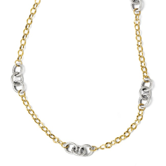 Italian 14k Two-Tone Gold Polished & Textured with 2in ext. Necklace - 18 inches