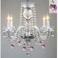 Chandelier Lighting With Crystal Pink*Hearts*H17 W17 - Thumbnail 0