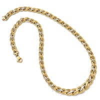 Italian 14k Yellow Gold with Rhodium-plated Polished and Satin Necklace - 18 inches