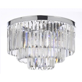 Odeon Empress Crystal Glass Fringe 3-Tier Flush Chandelier Lighting With Chrome Finish