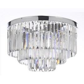 Odeon Empress Crystal Glass Fringe 3-Tier Flush Chandelier Lighting With Chrome Finish