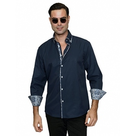 IN-65 Men's Manzini Navy with Pasiley Trim Design Cotton Shirt with Pasiley Trim