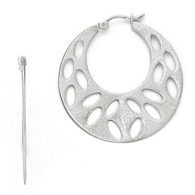 Sterling Silver Fancy Brushed Cut-out Large Hoop Earrings