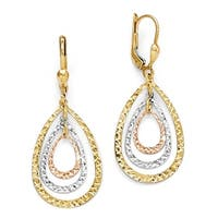 14k Tri-Color Gold Polished & Diamond-cut Leverback Earrings