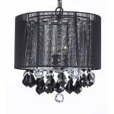 Crystal Chandelier Lighting With Large Black Shade, Jet Black Crystal