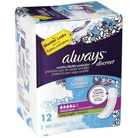 Always Discreet Incontinence Maximum Absorbency Pads, Long 12 ea