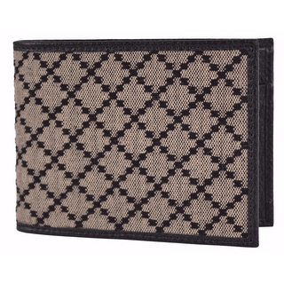 Gucci Men's 143384 Black & Beige Jacquard Diamante Bifold Coin Wallet