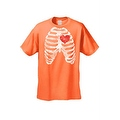 MEN'S FUNNY T-SHIRT Rib Cage With Red Heart Beating SKELETON BODY CHEST BONES - Thumbnail 5