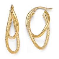 Italian 14k Gold Polished and Textured Hinged Hoop Earrings