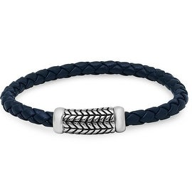 Oxford Ivy Braided Navy Blue Leather Bracelet with Magnetic Stainless Steel Clasp ( 8 3/4 inches)