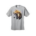 Men's T-Shirt Beautiful Golden Black & Brown Horses Cowboy Rodeo Riding Tee - Thumbnail 4