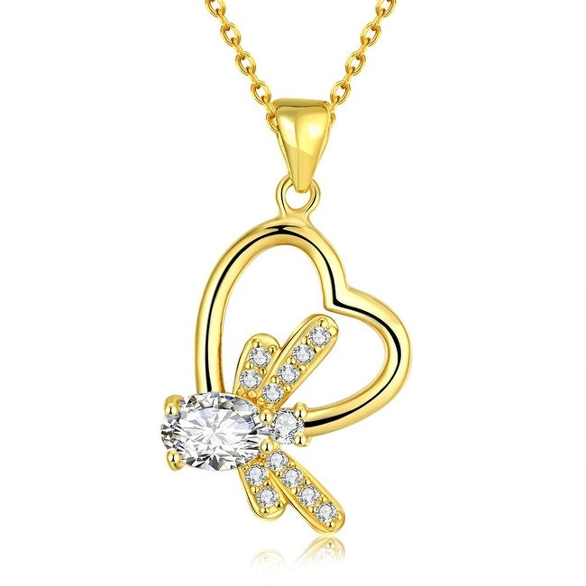 Gold Plated Crystal Filled Heart Bridal Necklace