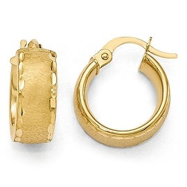 Italian 14k Gold Polished Diamond Cut Brushed Small Hoop Earrings
