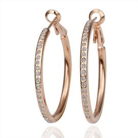 Vienna Jewelry 18K Rose Gold Large Hoop Earrings Made with Swarovksi Elements