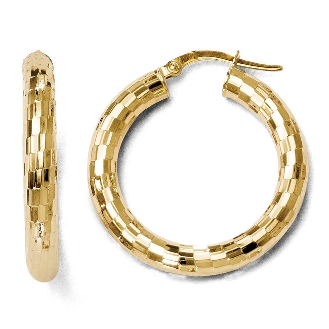 Italian 10k Gold Diamond Cut Hinged Hoop Earrings