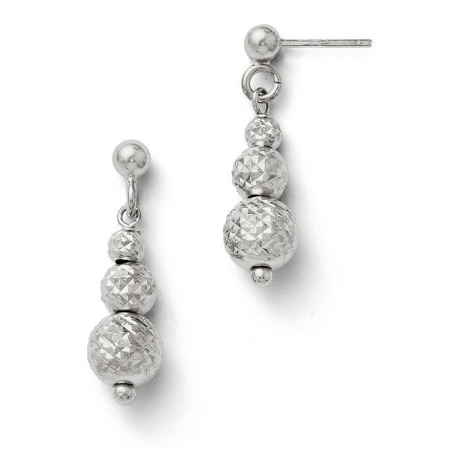 Italian Sterling Silver Diamond Cut Beads Dangle Post Earrings