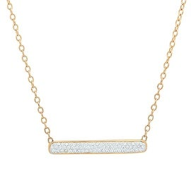 Amanda Rose 14K Gold Plated Sterling Silver Bar Necklace with Austrian Crystals