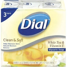 Dial Clean & Soft Glycerin Bar Soap, White Tea & Vitamin E, 4 oz bars, 3 ea