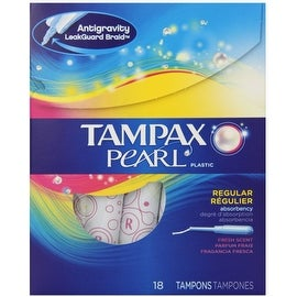 Tampax Pearl Plastic Tampons, Regular Absorbency, Fresh Scent, 18 ea