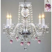 Chandelier Lighting With Crystal Pink*Hearts* H17 x W17 Swag Plug In Chandelier